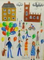 Lot 006 - Brian Pollard, original acrylic, 'Balloon Seller, Outside the Church', early work 1991, 17cm x