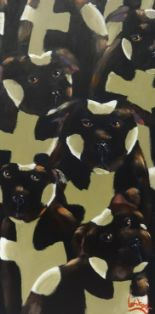 Lot 004 - Lee Woods, oil on wrap around board 'Staffordshire Bull Terriers' signed, 91cm x 46cm, Provenance;
