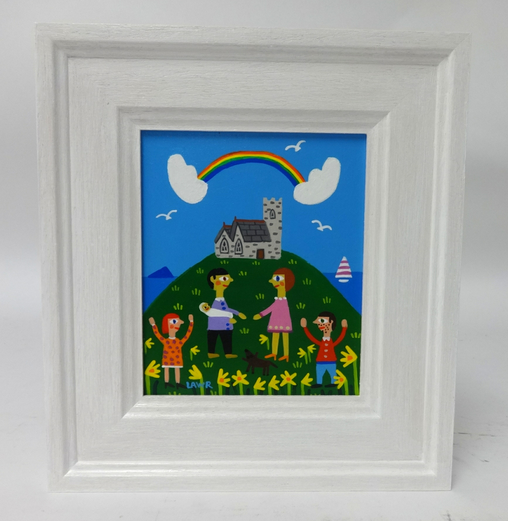 Lot 002 - Arth Lawr, 'A Christening at Wembury Church', signed and dated 2018, original acrylic on board, 14cm