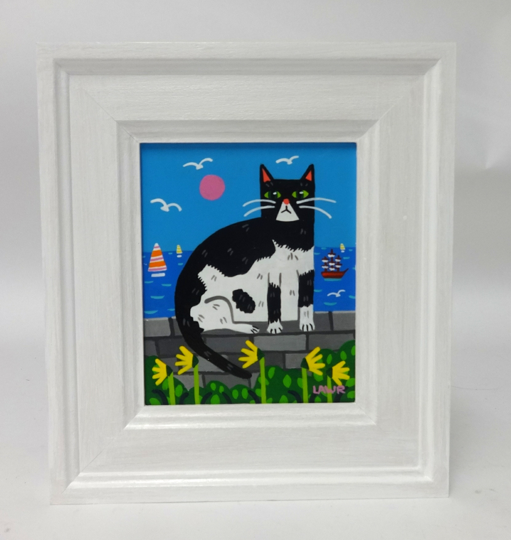Lot 001 - Arth Lawr, 'A Cat on Hoe Road', signed and dated 2018, original acrylic on board, 15cm x 12cm,