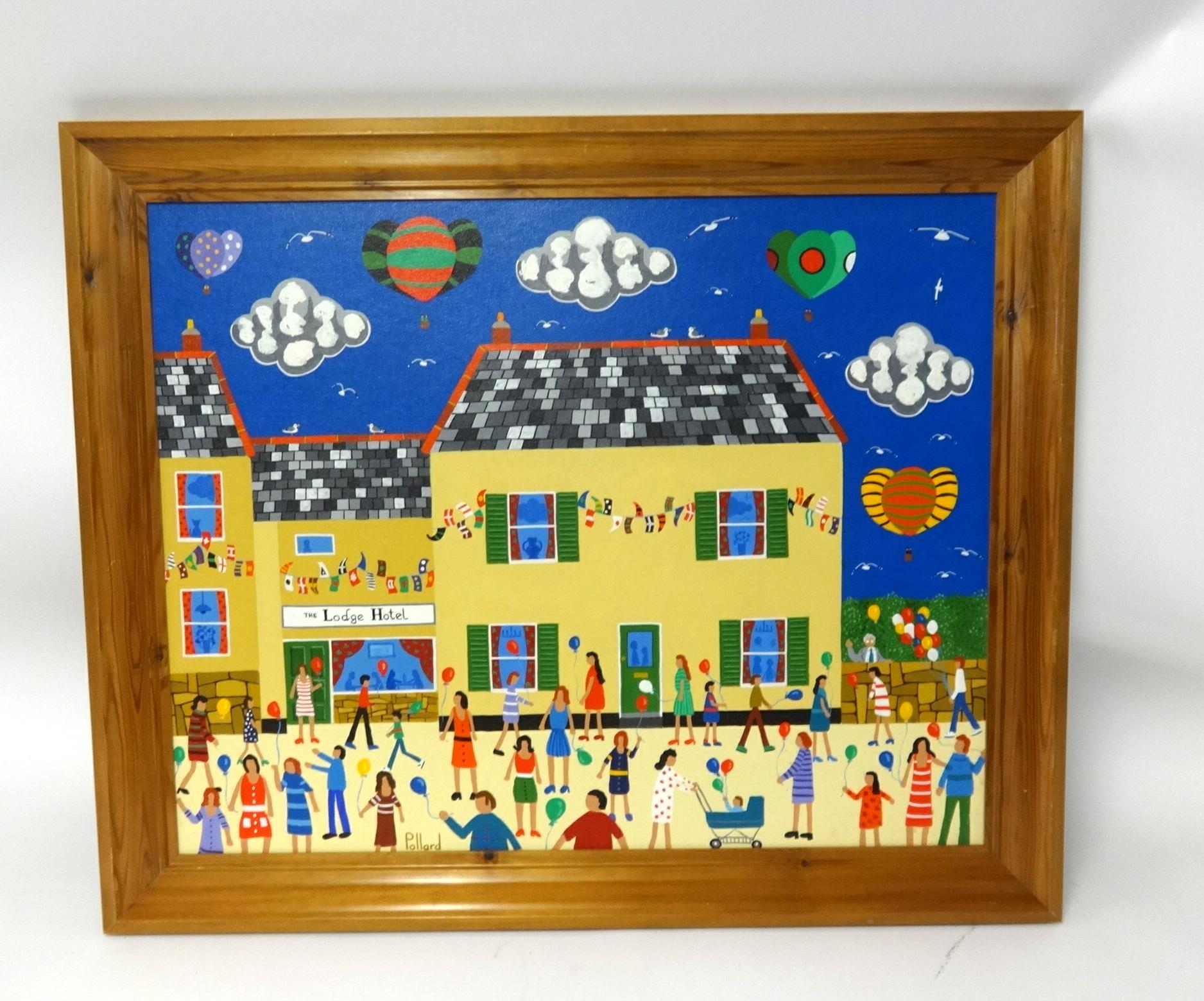 Lot 012 - Brian Pollard, original acrylic on board, signed 'The Lodge Hotel, Kingsbridge', 59cm x 74cm,