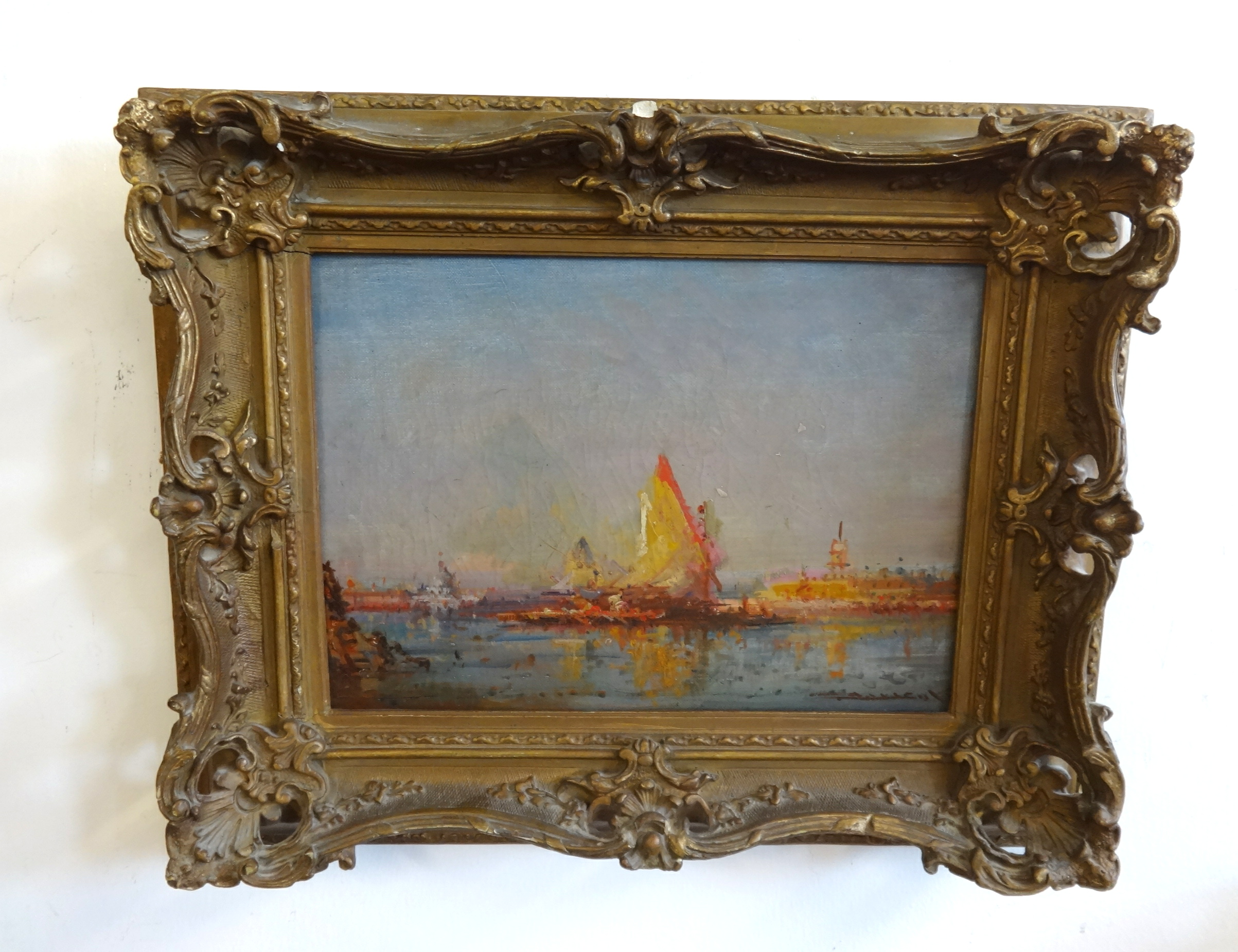Lot 001 - A 19th century oil on canvas 'Venice', indistinctly signed, in possibly original gilt frame, 23cm
