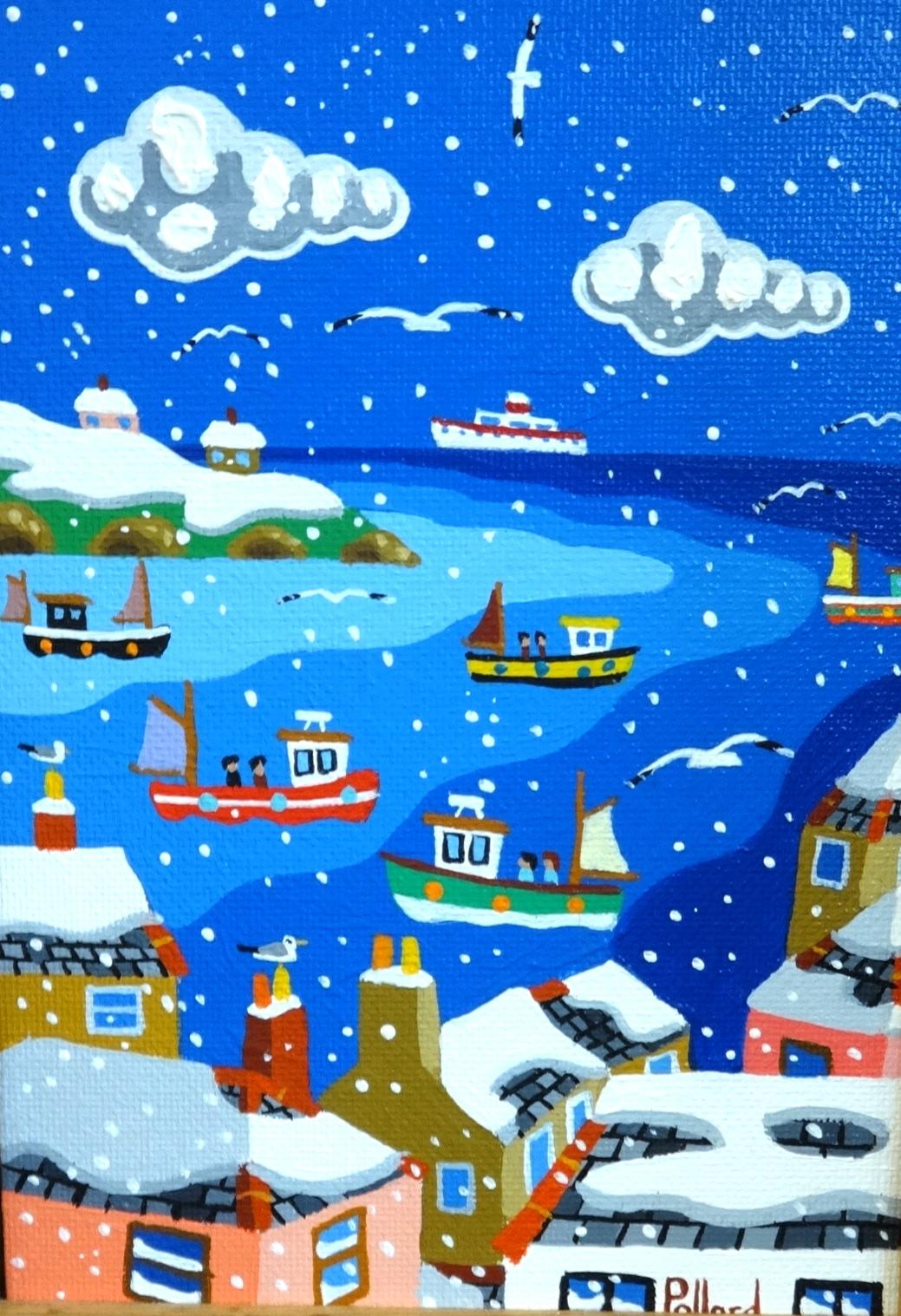 Lot 003 - Brian Pollard, acrylic on board, 'Winter Bay, 1993', signed 17cm x 12cm.