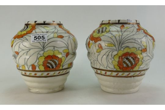 Pair Of Charlotte Rhead Signed Crown Ducal Vases With Tudor Rose Design