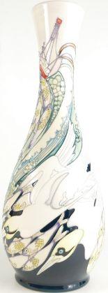 Lot 510 - Moorcroft fishing vase in white. Shape 8