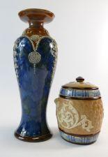 Lot 174 - Royal Doulton Lambeth Stoneware vase wit