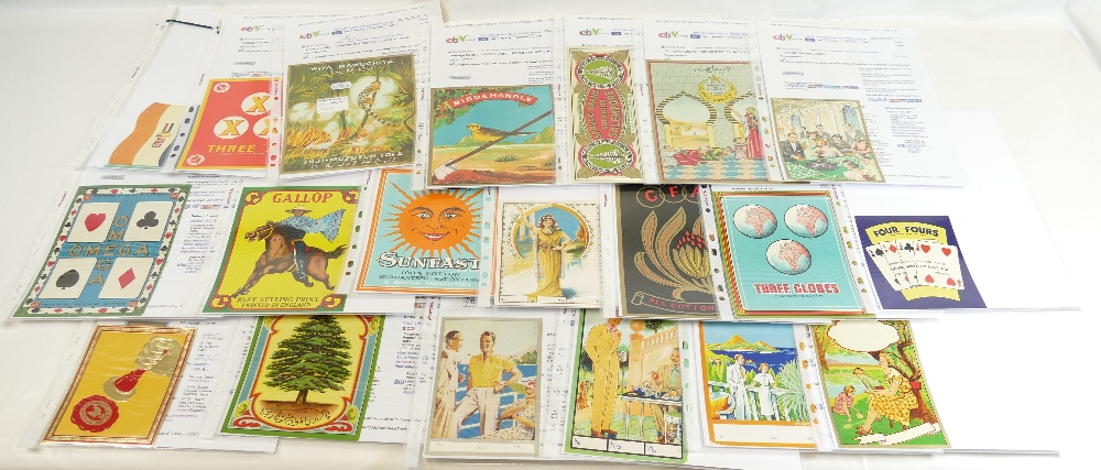 Lot 51 - Vintage FABRIC BALE LABELS x 20 including Bird and Handle, Spruce, Omega, Gallop, Super Sunfast,