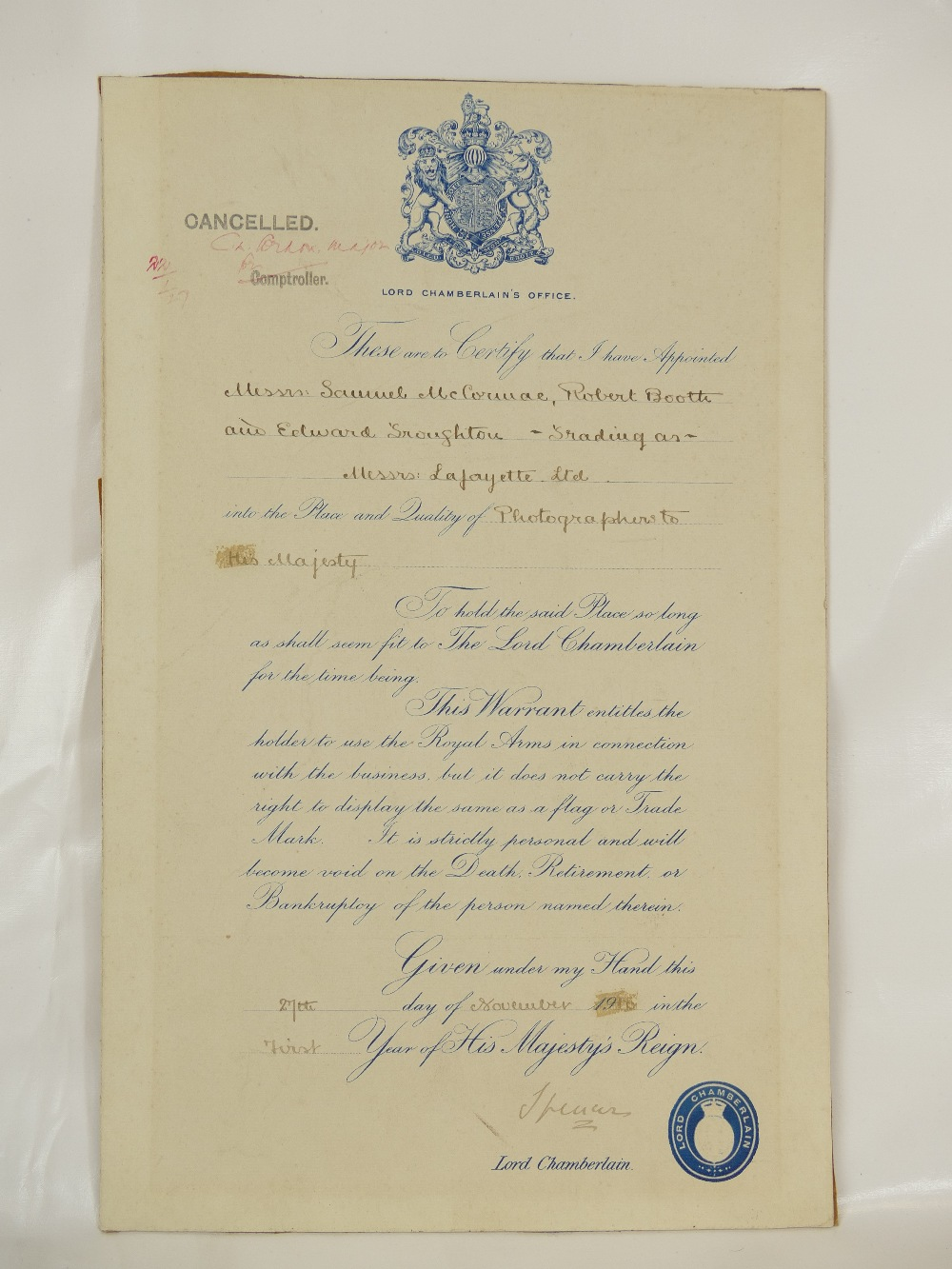 Lot 32 - Original and genuine Royal Warrant issued to the three named partners trading as LAFAYETTE Ltd.