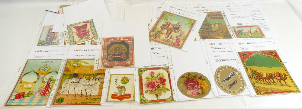 Lot 50 - Vintage FABRIC BALE LABELS x 20 including Three Chicks, Spruce Brand, Peacock Brand,