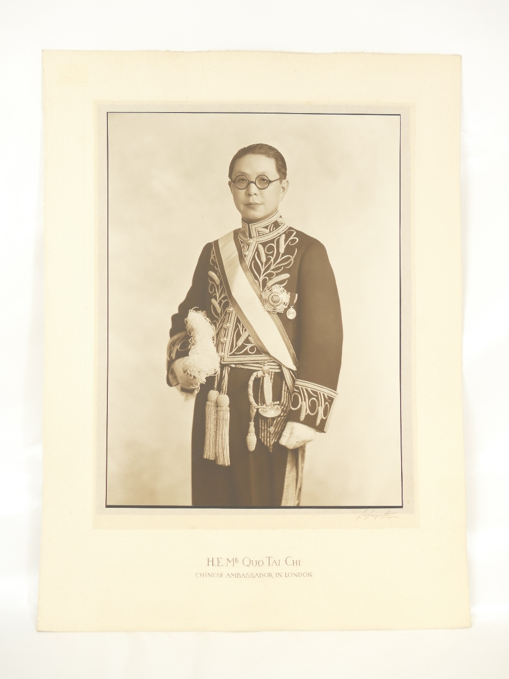 Lot 14 - His Excellency Mr Quo Tai Chi - Chinese Ambassador in London 1930's - large studio portrait bearing