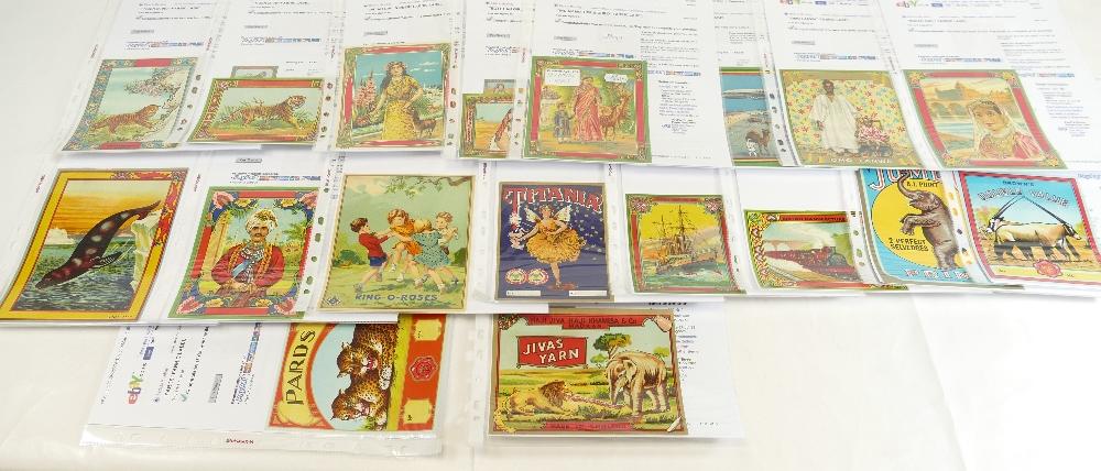 Lot 52 - Vintage FABRIC BALE LABELS x 18 including - Omo Lanwa, Ring O Roses, Titania, Jumbo,
