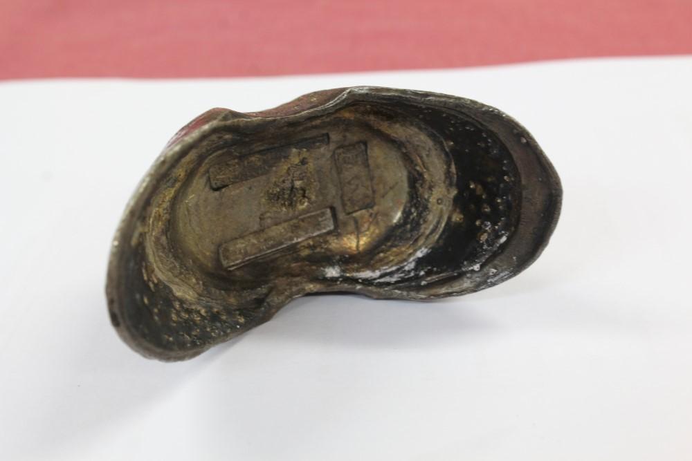 Lot 43 - China - 19th century Sycee Bullion 10 Taels silver ingot - boat / shoe-shaped and counter marked
