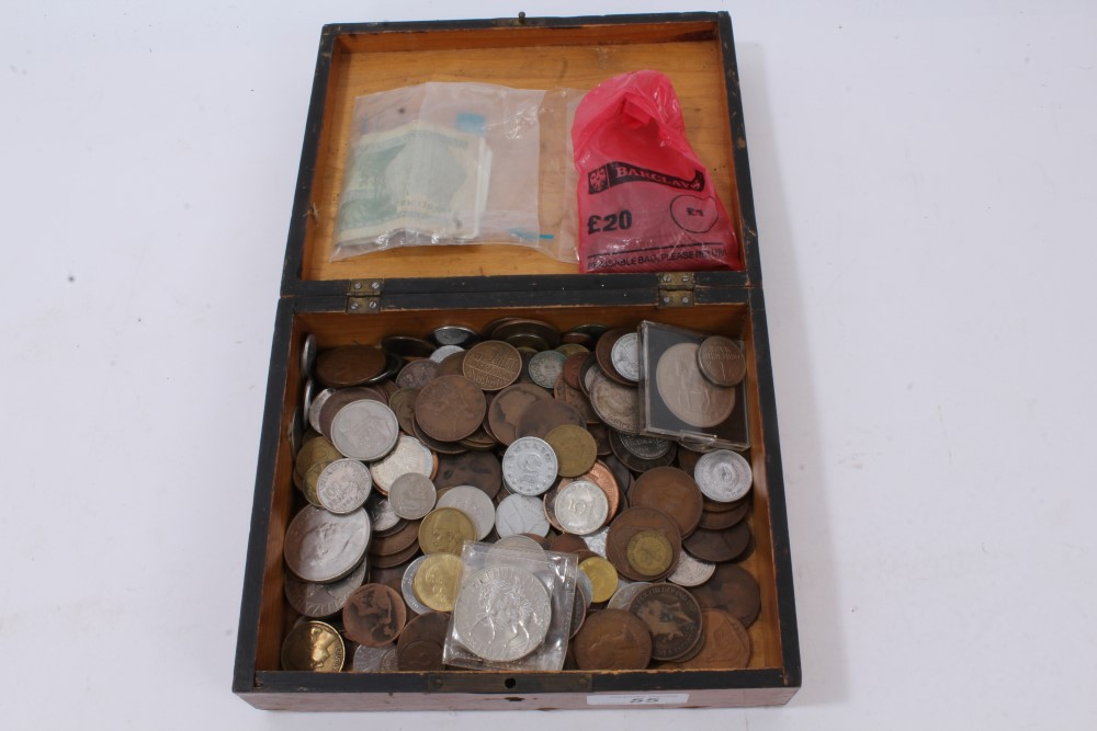 Lot 55 - World - mixed coinage and banknotes - to include a small quantity of G.B. pre-1947 silver (£1.