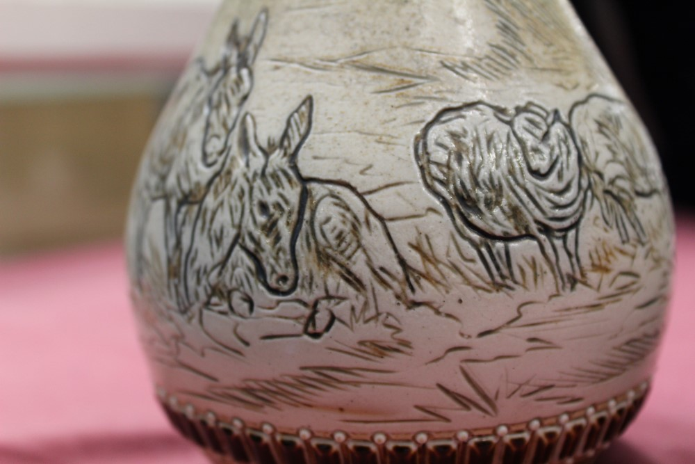 Lot 2016 - Pair of Victorian Doulton Lambeth vases by Hannah Barlow,