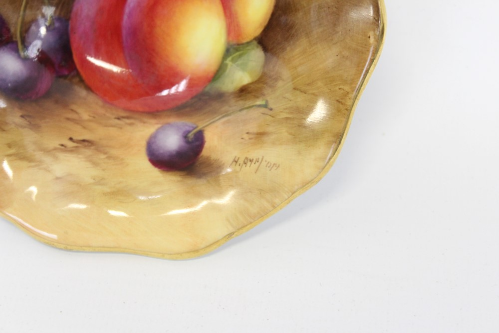 Lot 2008 - Royal Worcester hand-painted dish with fruit decoration, signed, 11.