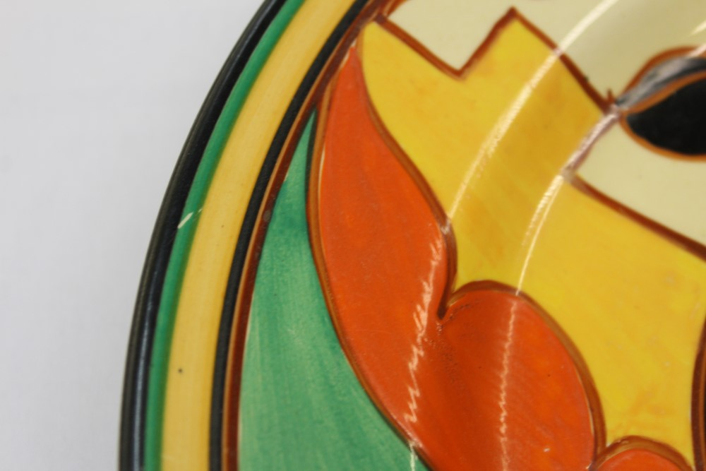 Lot 2003 - Clarice Cliff hand-painted Fantasque plate, printed marks to base,