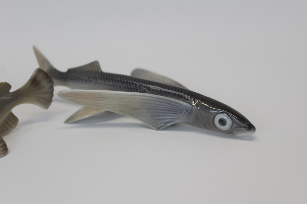 Lot 2038 - Two Royal Copenhagen porcelain fish - pike numbered 2427,