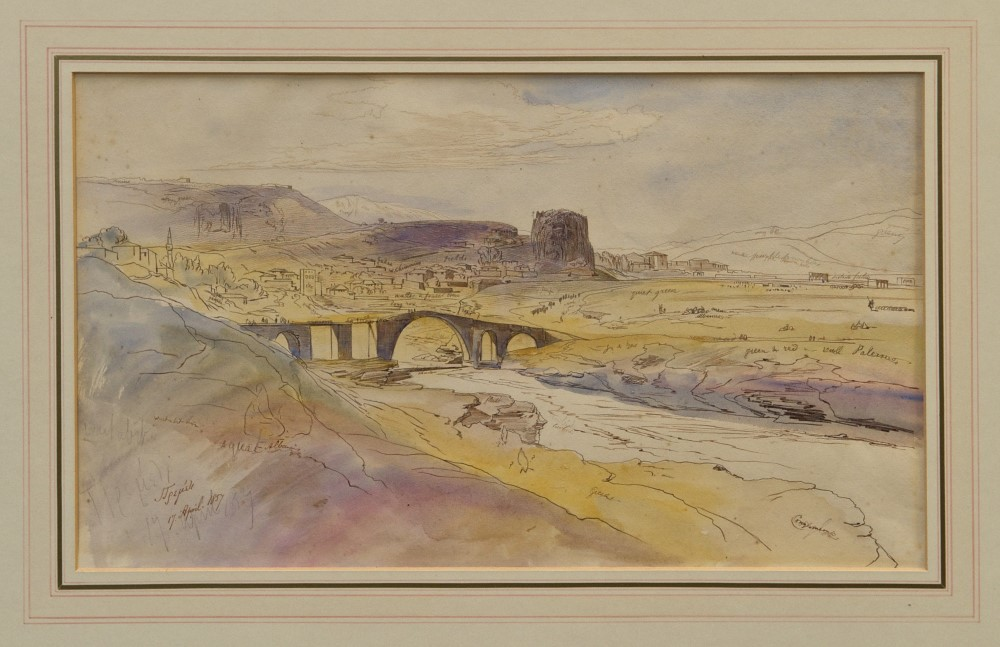 Edward Lear (1812 - 1888), pen, ink and watercolour - Premedi, inscribed and dated 17. April.