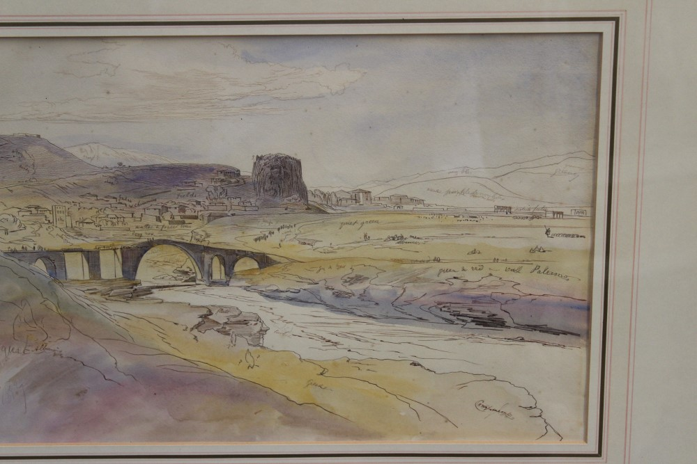 Edward Lear (1812 - 1888), pen, ink and watercolour - Premedi, inscribed and dated 17. April. - Image 3 of 5