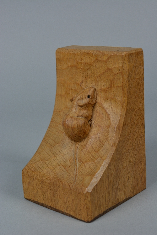 A PAIR OF ROBERT THOMPSON 'MOUSEMAN' OF KILBURN OAK BOOKENDS, each carved with a mouse to the - Image 2 of 5