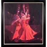 CHARLES WILLMOTT (BRITISH B.1943), 'Voces Y Echos (1), Paco Pena Flamenco Dance', oil on canvas,