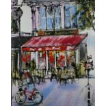 A LIMITED EDITION HAND EMBELLISHED PRINT OF AN EXTERIOR OF A BAR BRASSERIE, box canvas, indistinctly