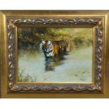 TONY FORREST (BRITISH, CONTEMPORARY), Bathing Tiger, oil on canvas, signed lower right,