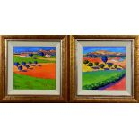 RICHARD PARGETER (BRITISH B.1976), Tuscan landscapes, a pair, oil on canvas, signed, approximately