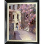 BRIAN JULL (BRITISH B.1949), Mother and Child walking through a continental side street, oil on