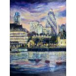 KAREN WALLIS (CONTEMPORARY), City by night from the river, oil on box canvas, signed lower left,