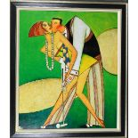 ANDREI PROTSOUK (UKRANIAN, 20TH CENTURY), 'Golfers', a giclee limited edition print on linen canvas,