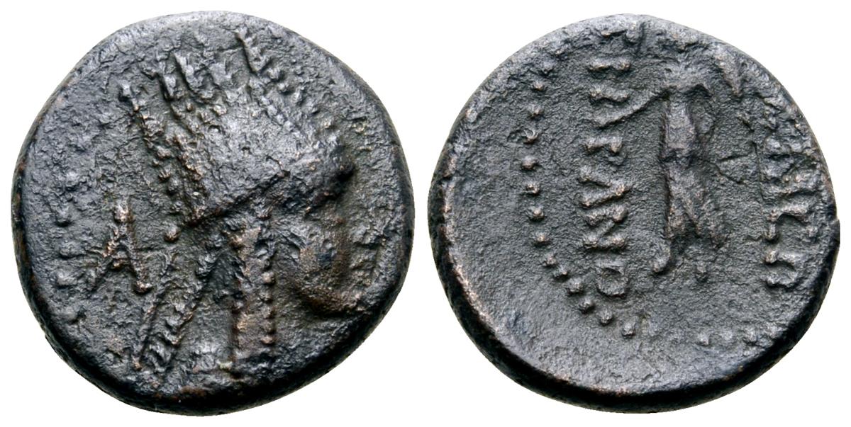 Kings of Armenia, Tigranes III Æ15. Artaxata, circa 20-8 BC. Diademed and draped bust right, wearing