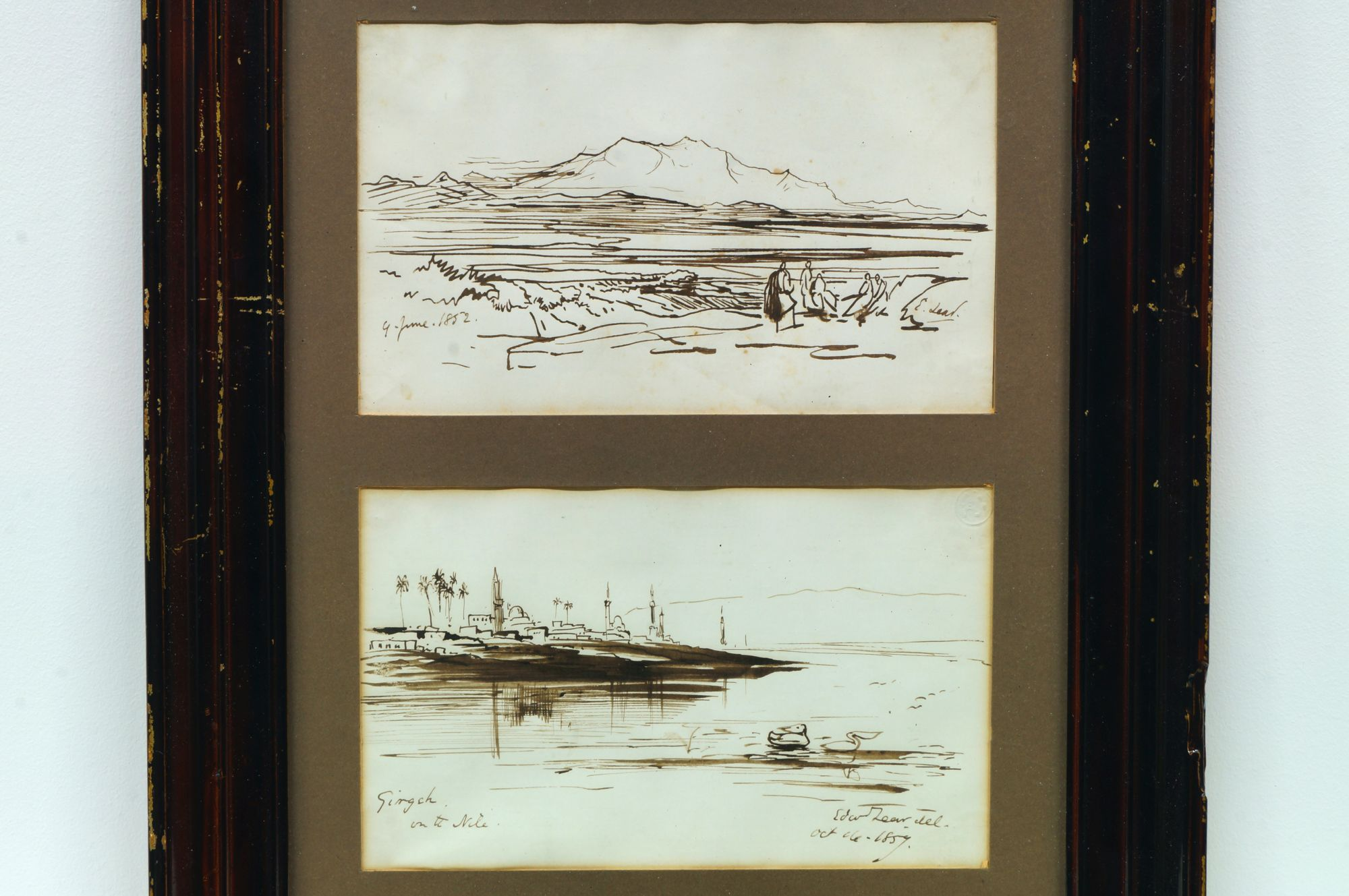 Edward Lear, British 1812-1888- Girgeh on the Nile & Figures in a mountain landscape; pen, brown ink