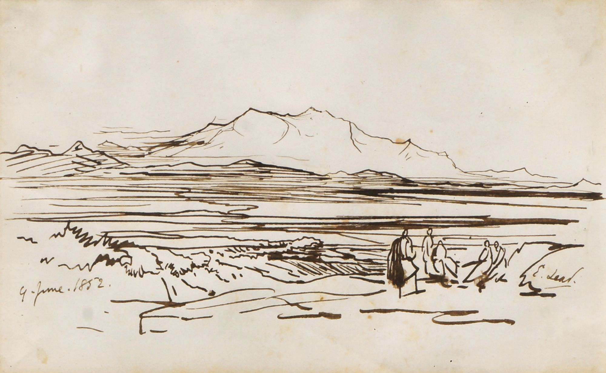 Edward Lear, British 1812-1888- Girgeh on the Nile & Figures in a mountain landscape; pen, brown ink - Image 2 of 3