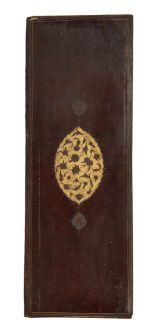 Lot 101 - A Safavid binding, Iran, 17th century, of narrow rectangular form, with central gilt tooled