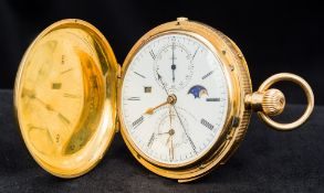 An 18 ct gold cased minute repeating hunter pocket watch The white enamelled dial with Roman and