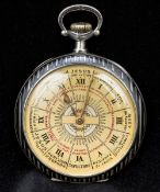 A French silver niello decorated open faced pocket watch The segmented dial centred with a cross