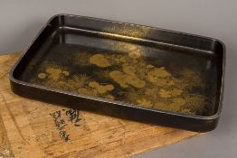 A late 19th/early 20th century Japanese lacquered tray Of galleried rectangular form with an