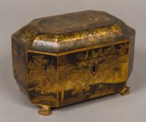 A 19th century Chinese chinoiserie lacquered tea caddy Of domed canted rectangular form,