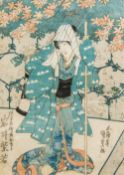UTAGAWA KUNISADA (1786-1865) Japanese Kabuki Actor Iwai Shijaku I Playing the Role of Osayo,