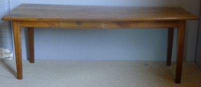 A 19th century French fruitwood farmhouse table The rectangular plank top above the plain frieze