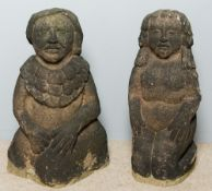 A pair of Pre-Columbian, probably Aztec carved stone statues One male, one female,