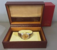 A Fiyta gentleman's stainless steel and 18 ct gold cased wristwatch The signed dial with paste set