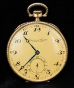 A 14K gold International Watch Company open faced pocket watch The gilt dial with Arabic numerals