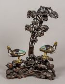 A pair of 19th century Chinese cloisonne censers Each formed as a bird, with removable cover,