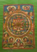 A 19th/20th century Tibetan Thanka Typically worked, framed and glazed. 42 x 60 cm.