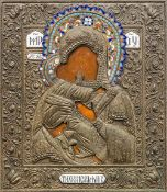 A 19th century Russian icon Worked with the Virgin Mary and Infant Jesus,