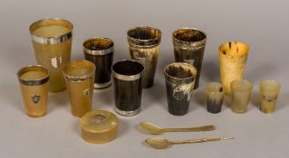 A collection of horn items, some silver mounted Comprising: beakers,
