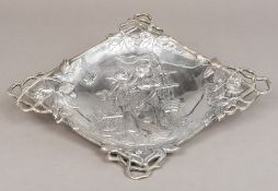 A Turkish 900 silver Art Nouveau dish Of lozenge form,