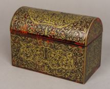 A 19th century boulle work casket Of rectangular form, with domed hinged cover. 23 cm wide.